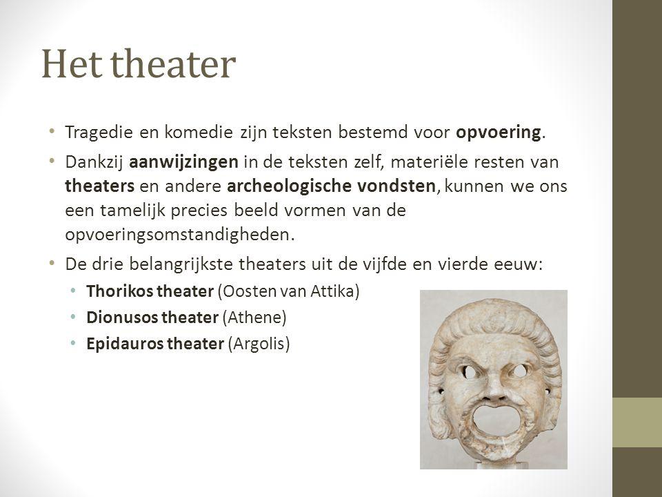 Het theater Tragedie en komedie zijn teksten bestemd voor opvoering.