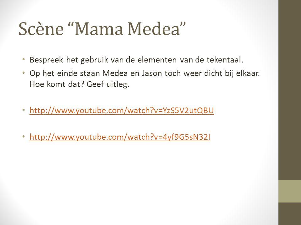 Scène Mama Medea Bespreek het gebruik van de elementen van de tekentaal.
