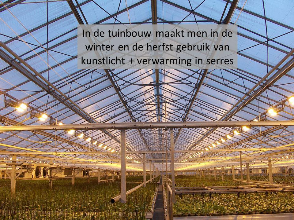 In de tuinbouw maakt men in de winter en de herfst gebruik van kunstlicht + verwarming in serres