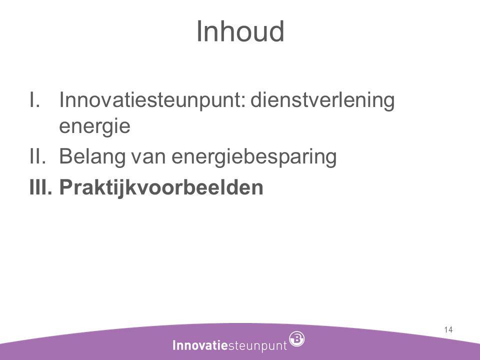 Inhoud Innovatiesteunpunt: dienstverlening energie