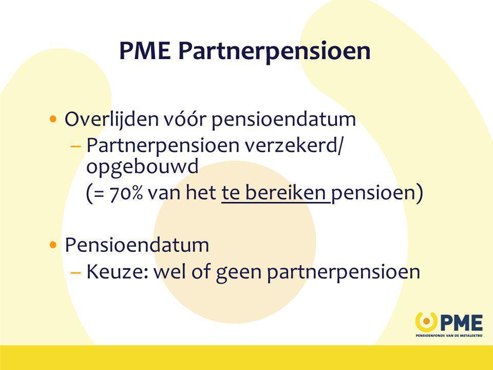PME Partnerpensioen Overlijden vóór pensioendatum