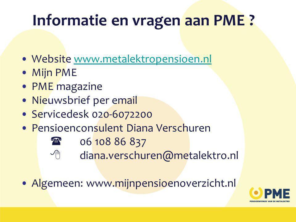Informatie en vragen aan PME