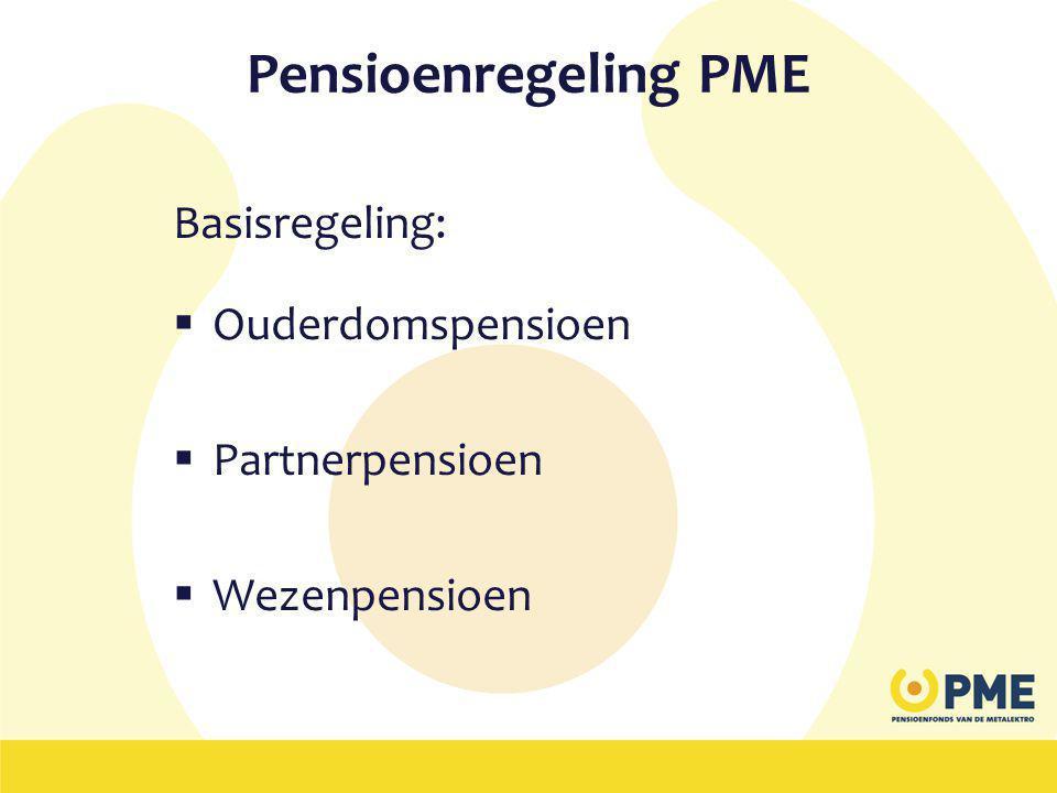 Pensioenregeling PME Basisregeling: Ouderdomspensioen Partnerpensioen