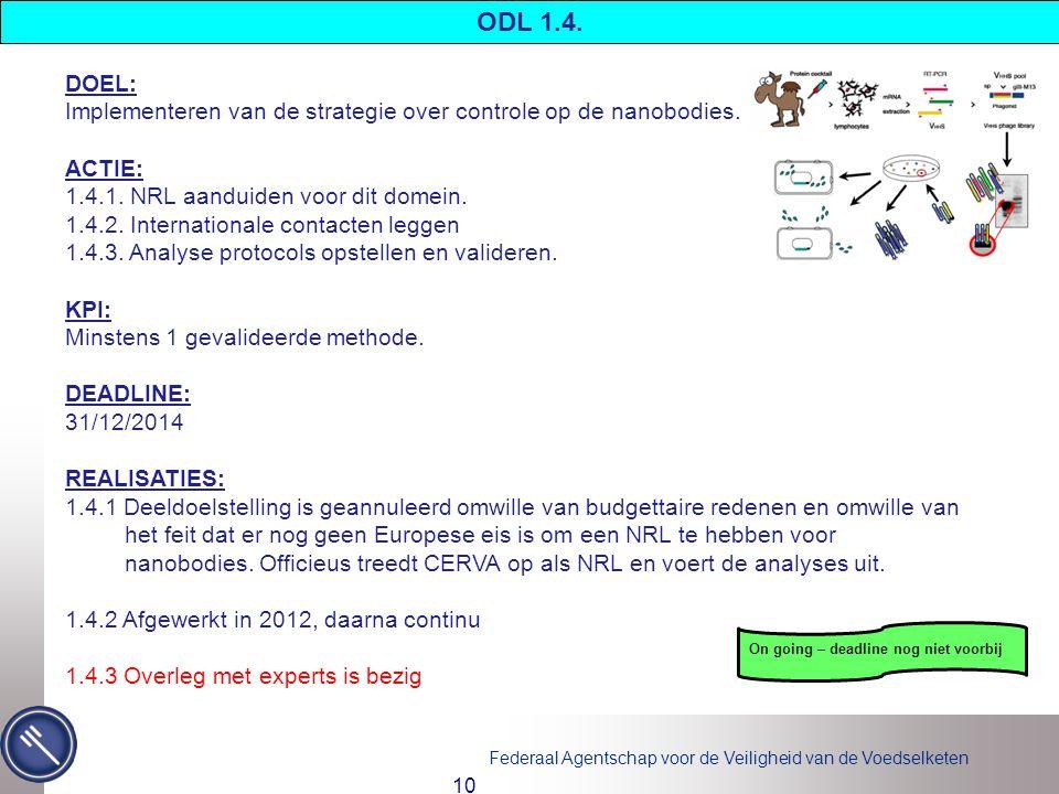 ODL 1.4. DOEL: Implementeren van de strategie over controle op de nanobodies. ACTIE: 1.4.1. NRL aanduiden voor dit domein.