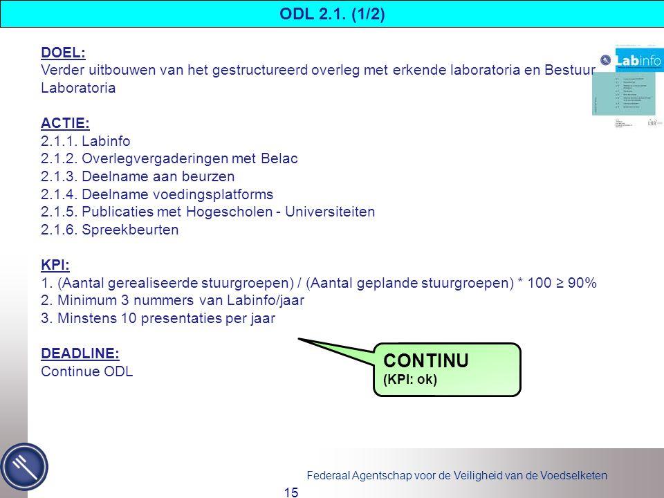 ODL 2.1. (1/2) DOEL: Verder uitbouwen van het gestructureerd overleg met erkende laboratoria en Bestuur Laboratoria.