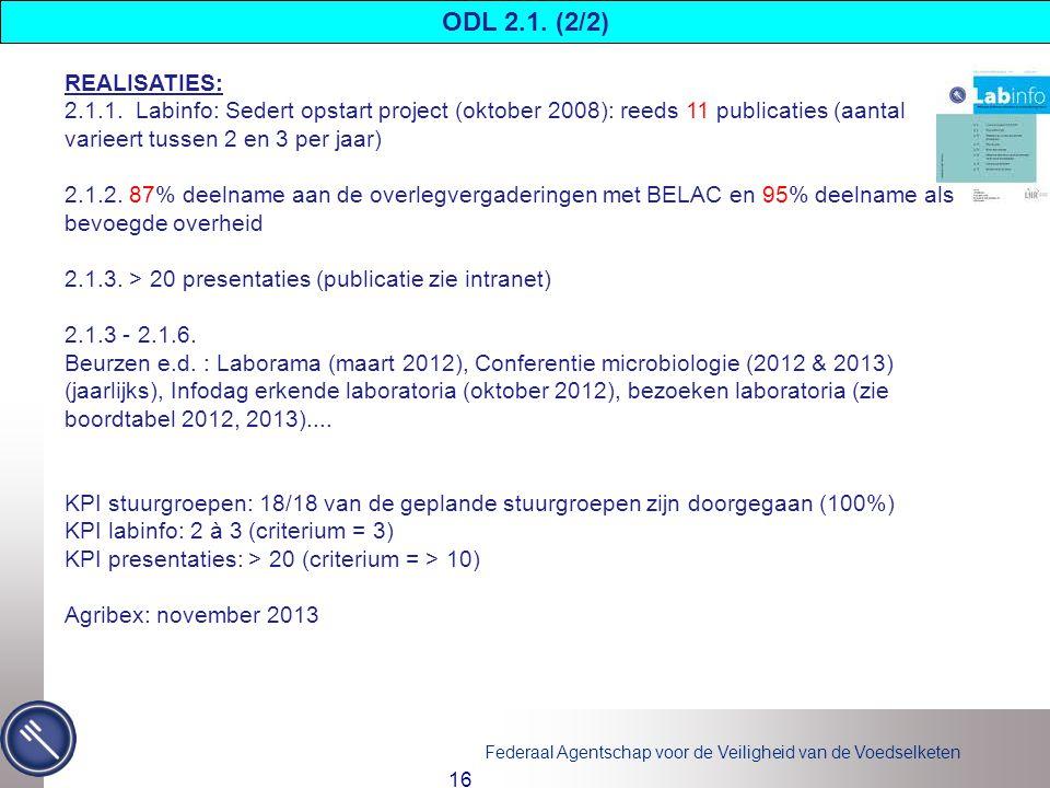 ODL 2.1. (2/2) REALISATIES: 2.1.1. Labinfo: Sedert opstart project (oktober 2008): reeds 11 publicaties (aantal varieert tussen 2 en 3 per jaar)