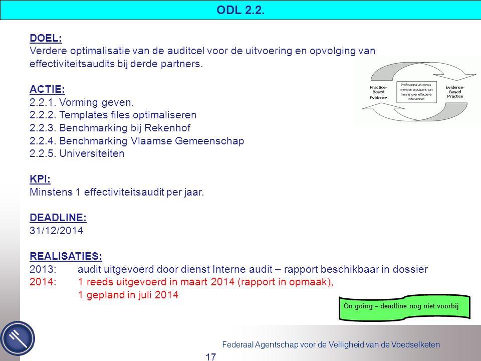 ODL 2.2. DOEL: Verdere optimalisatie van de auditcel voor de uitvoering en opvolging van effectiviteitsaudits bij derde partners.