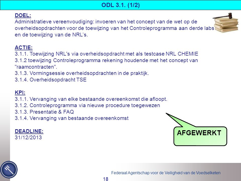 AFGEWERKT ODL 3.1. (1/2) DOEL: