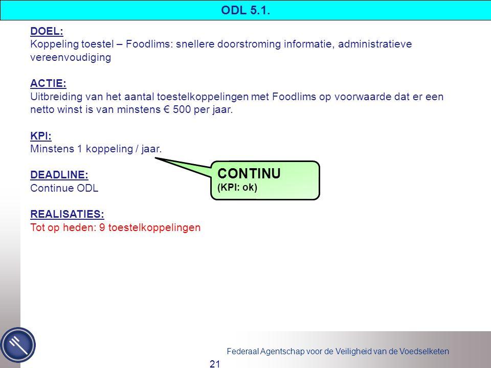 ODL 5.1. DOEL: Koppeling toestel – Foodlims: snellere doorstroming informatie, administratieve vereenvoudiging.
