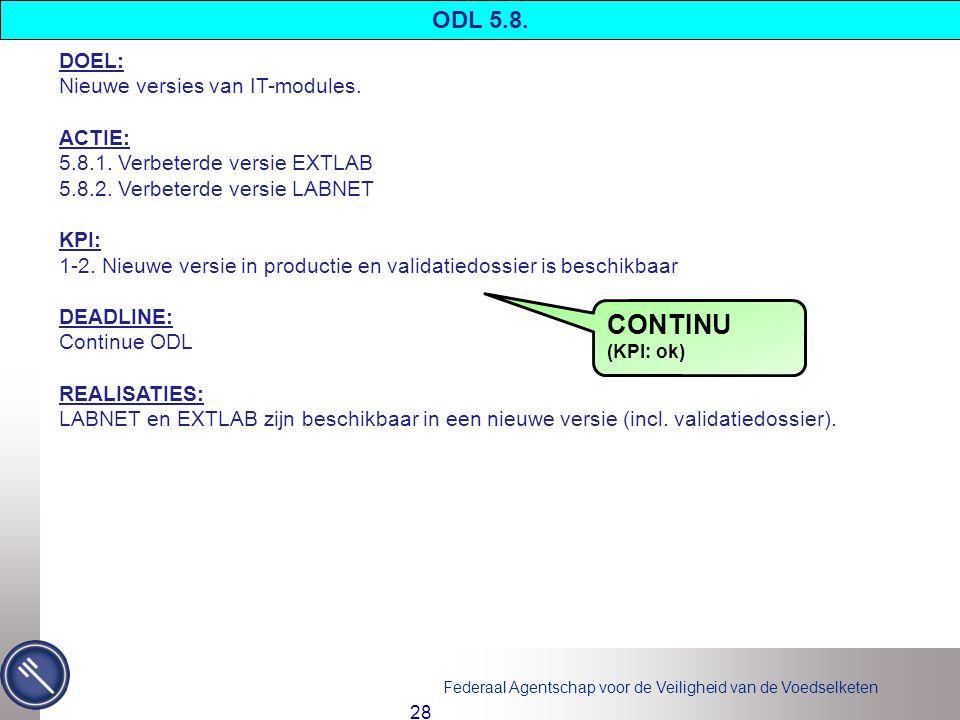 CONTINU ODL 5.8. DOEL: Nieuwe versies van IT-modules. ACTIE: