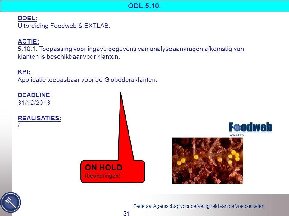 ON HOLD ODL 5.10. DOEL: Uitbreiding Foodweb & EXTLAB. ACTIE: