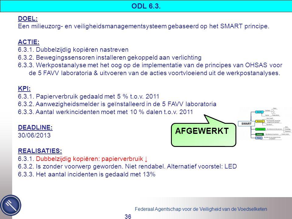 ODL 6.3. DOEL: Een milieuzorg- en veiligheidsmanagementsysteem gebaseerd op het SMART principe. ACTIE: