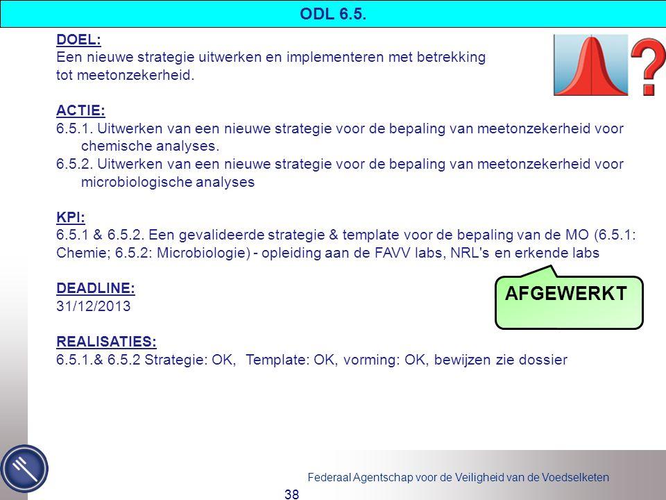 ODL 6.5. DOEL: Een nieuwe strategie uitwerken en implementeren met betrekking. tot meetonzekerheid.