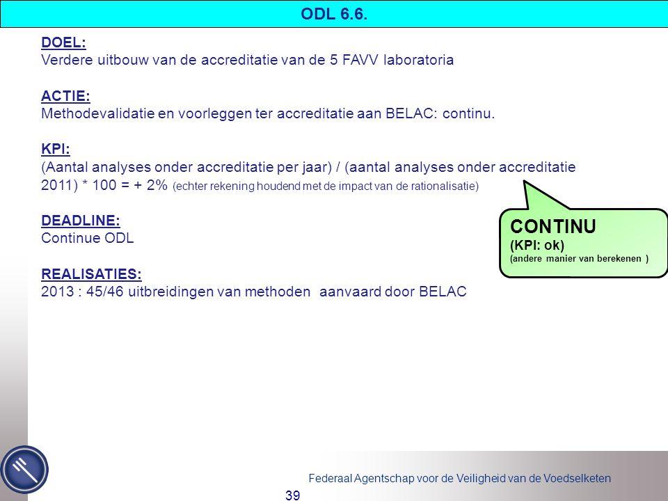 ODL 6.6. DOEL: Verdere uitbouw van de accreditatie van de 5 FAVV laboratoria. ACTIE:
