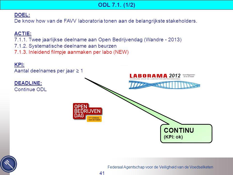 ODL 7.1. (1/2) DOEL: De know how van de FAVV laboratoria tonen aan de belangrijkste stakeholders. ACTIE: