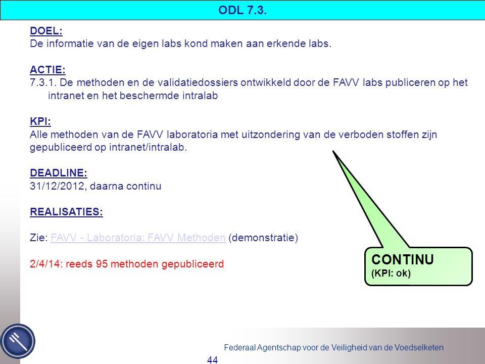 ODL 7.3. DOEL: De informatie van de eigen labs kond maken aan erkende labs. ACTIE: