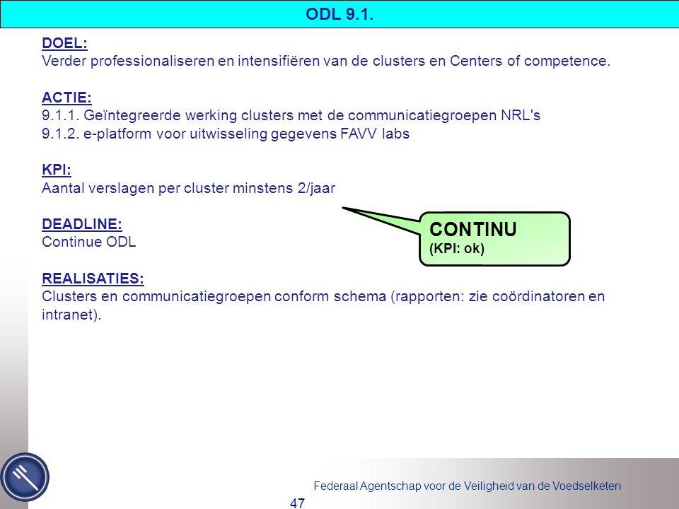 ODL 9.1. DOEL: Verder professionaliseren en intensifiëren van de clusters en Centers of competence.