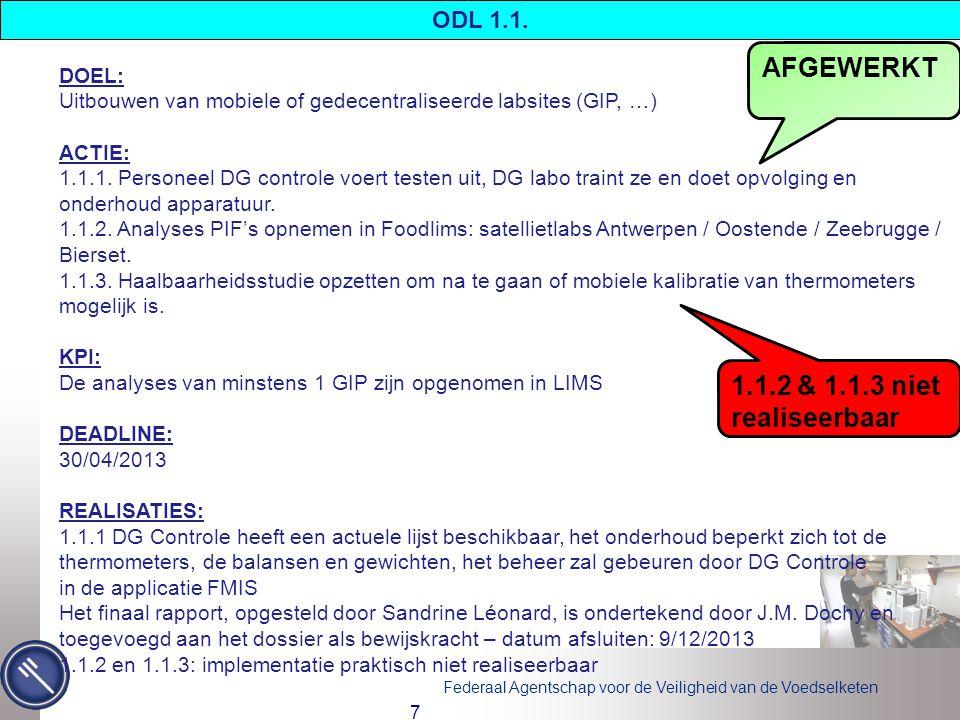 AFGEWERKT 1.1.2 & 1.1.3 niet realiseerbaar ODL 1.1. DOEL: