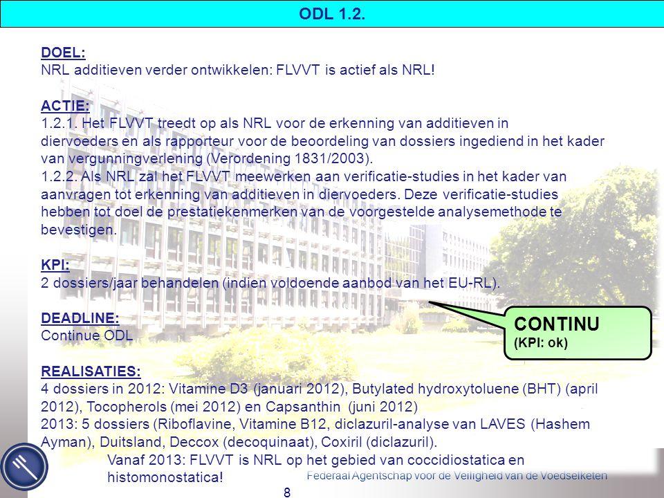 ODL 1.2. DOEL: NRL additieven verder ontwikkelen: FLVVT is actief als NRL! ACTIE: