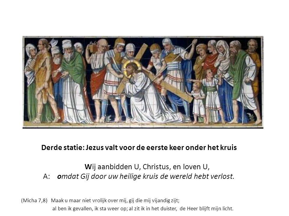 Derde statie: Jezus valt voor de eerste keer onder het kruis Wij aanbidden U, Christus, en loven U, A: omdat Gij door uw heilige kruis de wereld hebt verlost.