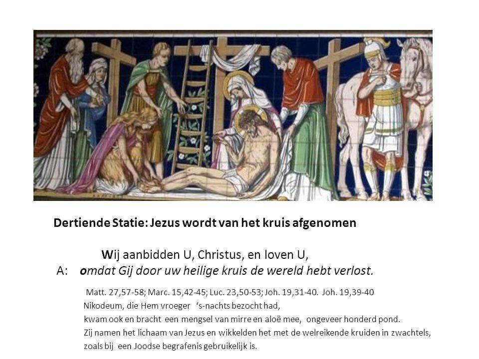 Dertiende Statie: Jezus wordt van het kruis afgenomen
