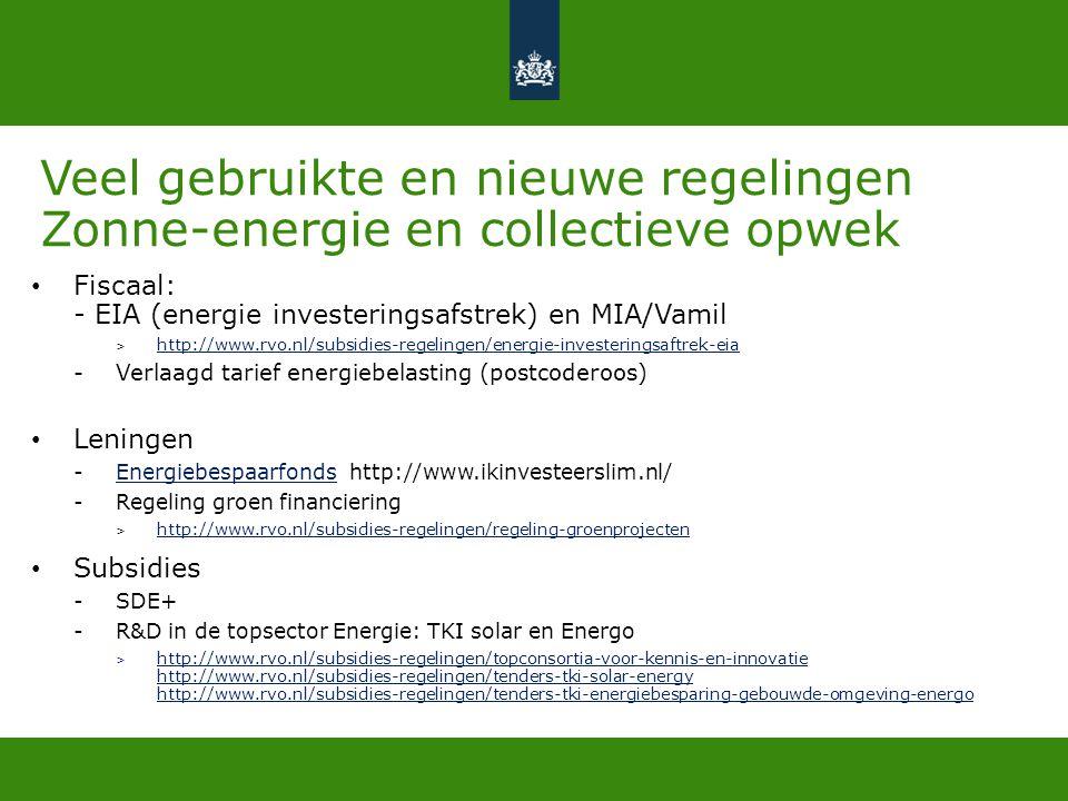 Veel gebruikte en nieuwe regelingen Zonne-energie en collectieve opwek