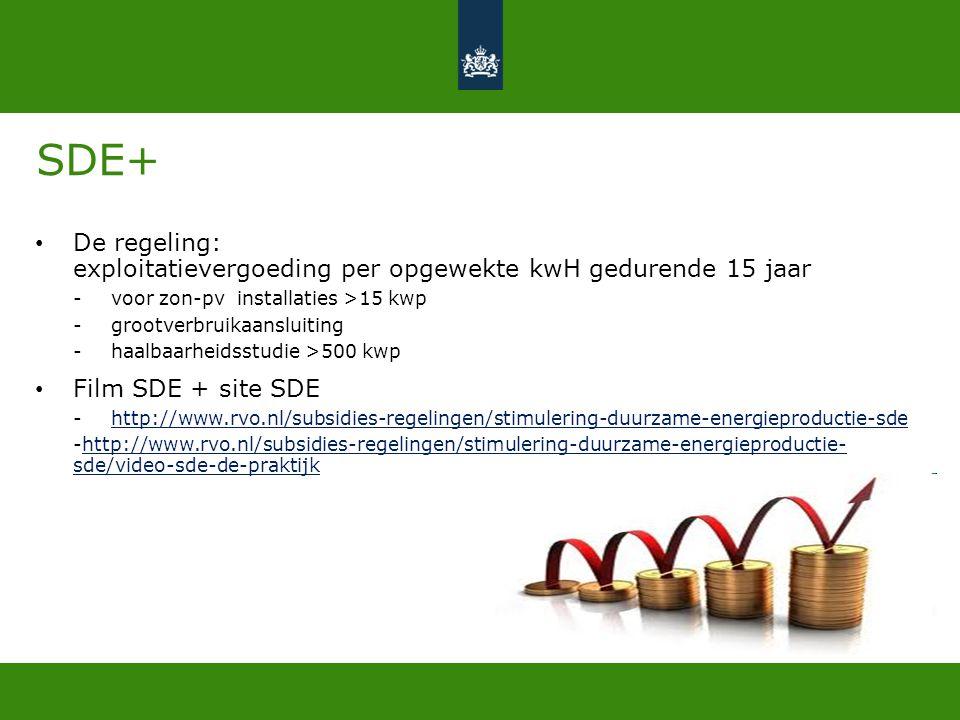 SDE+ De regeling: exploitatievergoeding per opgewekte kwH gedurende 15 jaar. voor zon-pv installaties >15 kwp.