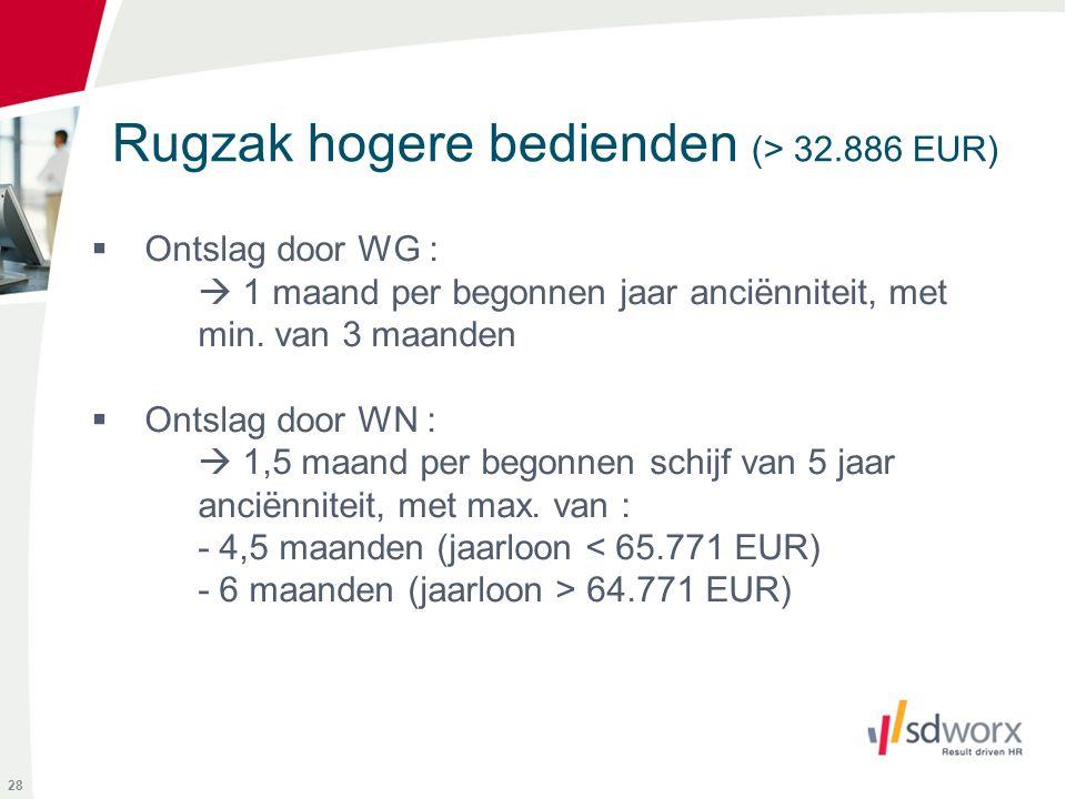 Rugzak hogere bedienden (> 32.886 EUR)