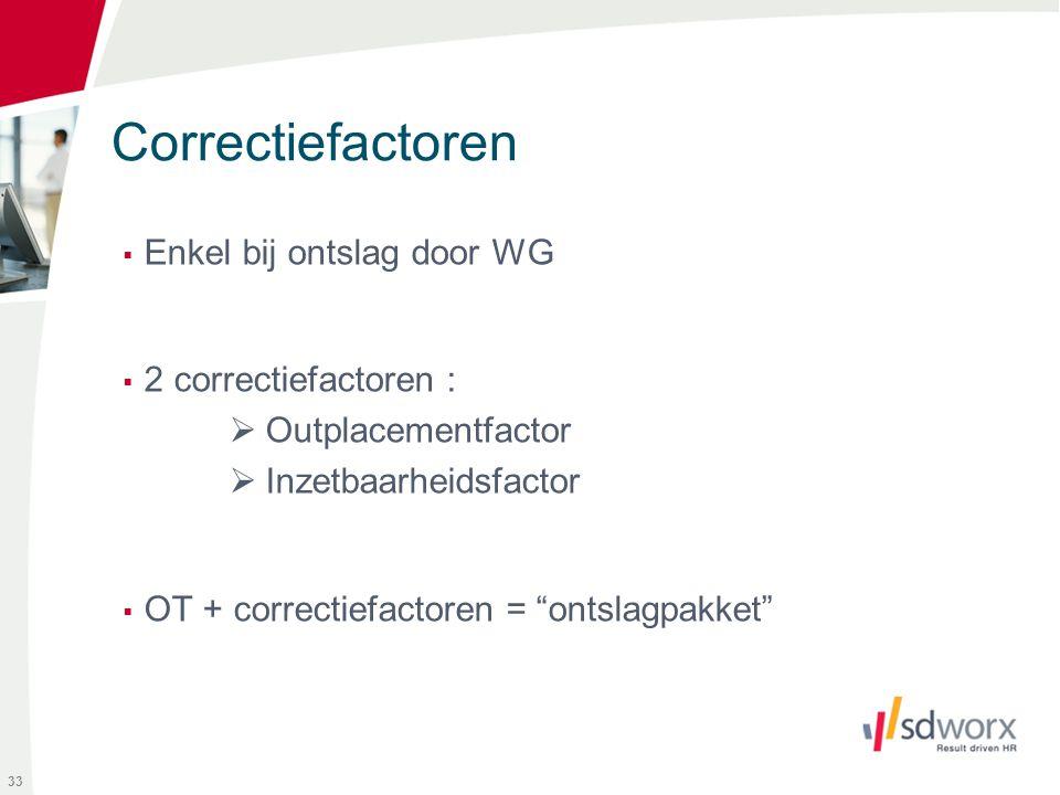 Correctiefactoren Enkel bij ontslag door WG 2 correctiefactoren :