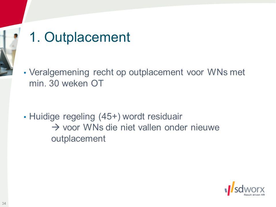 1. Outplacement Veralgemening recht op outplacement voor WNs met min. 30 weken OT. Huidige regeling (45+) wordt residuair.