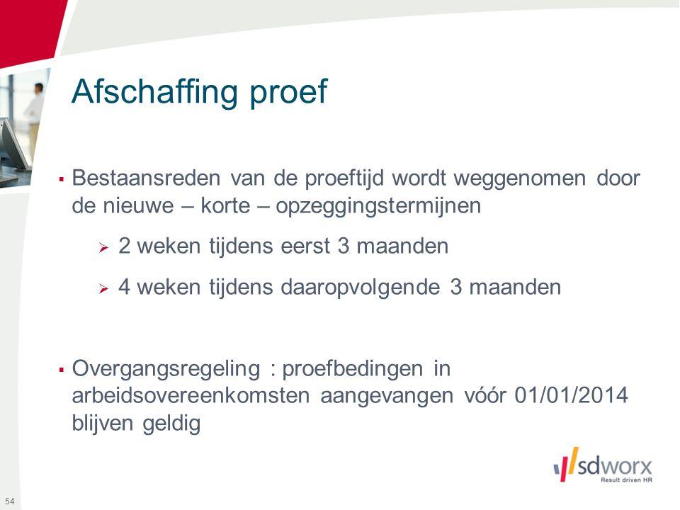 Afschaffing proef Bestaansreden van de proeftijd wordt weggenomen door de nieuwe – korte – opzeggingstermijnen.