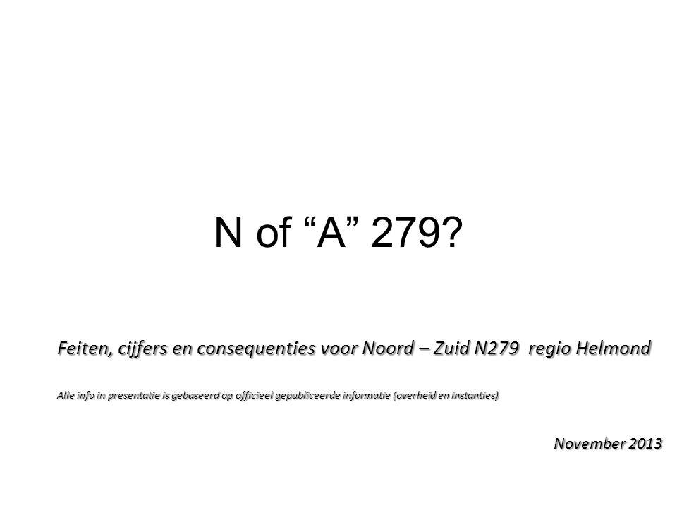 N of A 279 Feiten, cijfers en consequenties voor Noord – Zuid N279 regio Helmond.