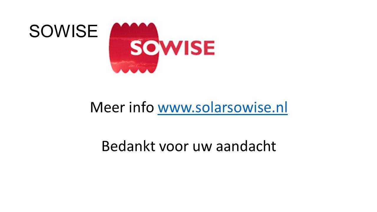 SOWISE Meer info www.solarsowise.nl Bedankt voor uw aandacht
