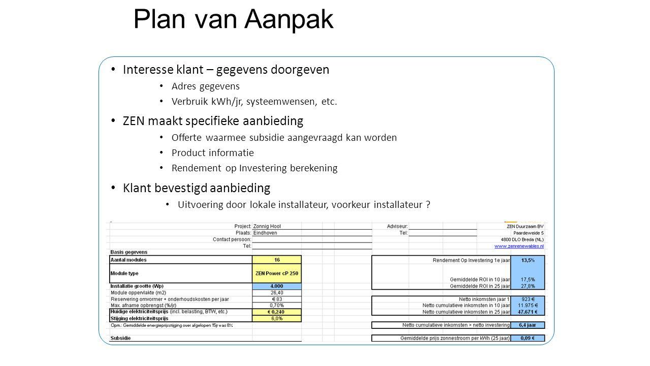 Plan van Aanpak Interesse klant – gegevens doorgeven