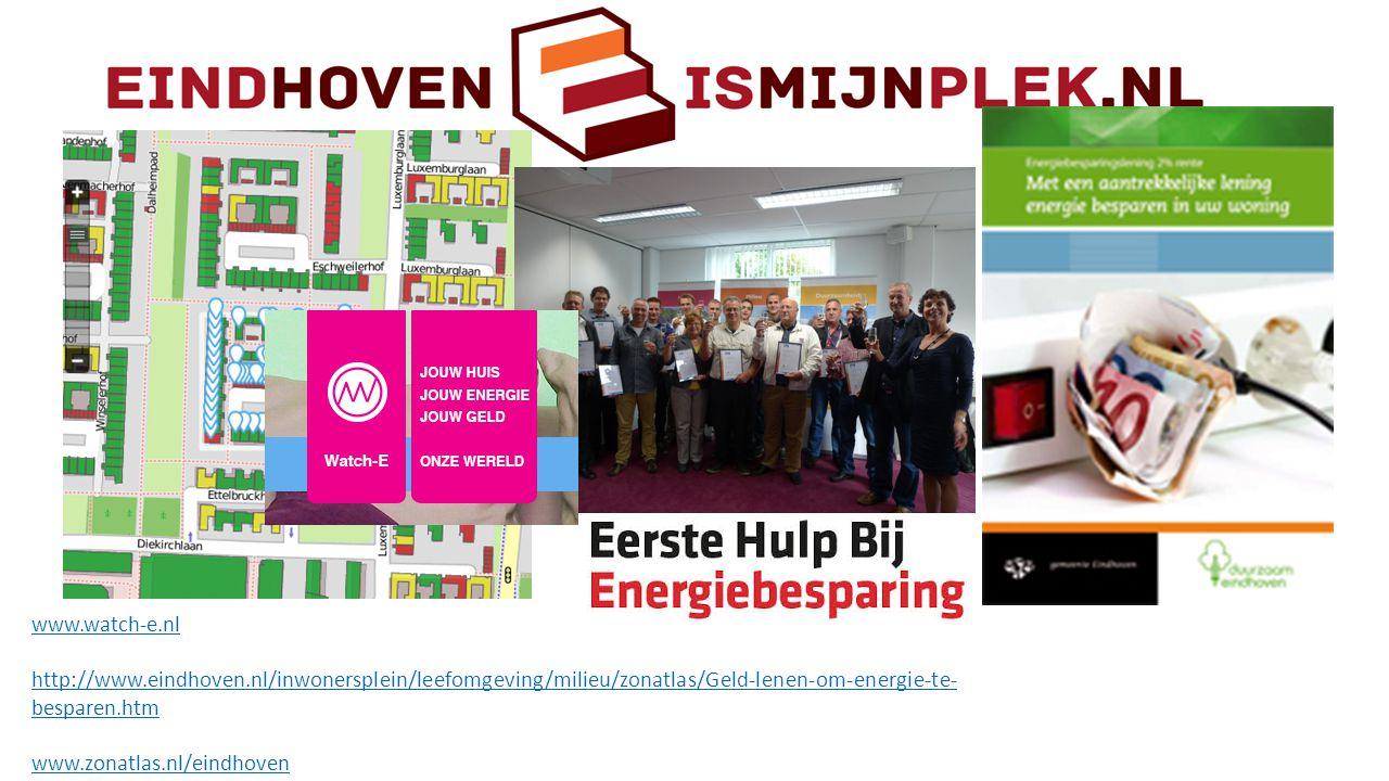 www.watch-e.nl http://www.eindhoven.nl/inwonersplein/leefomgeving/milieu/zonatlas/Geld-lenen-om-energie-te-besparen.htm.
