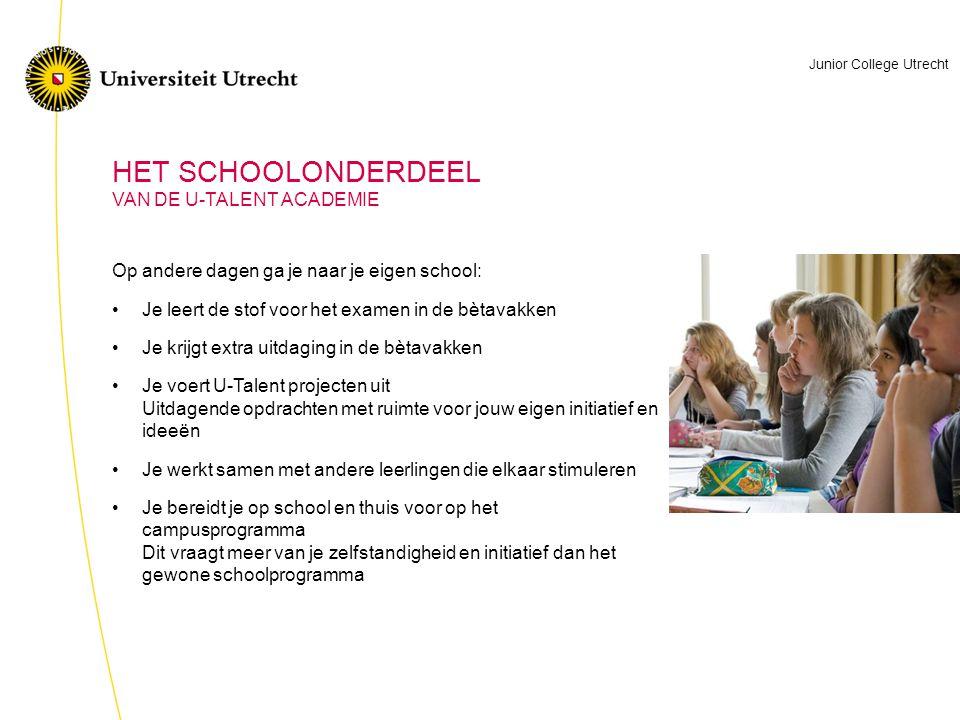 HET SCHOOLONDERDEEL VAN DE U-TALENT ACADEMIE
