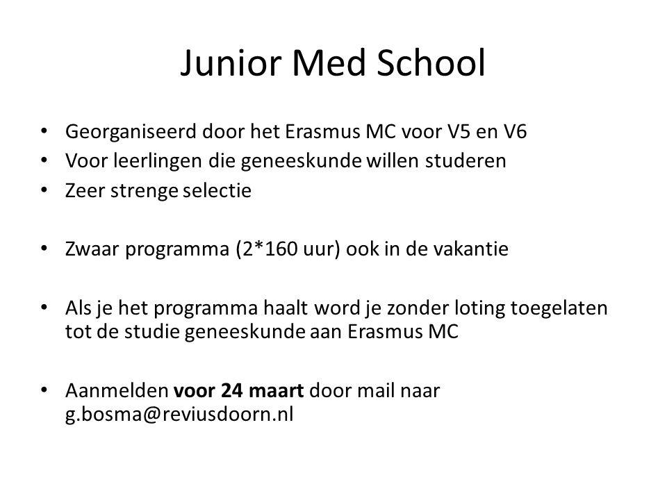 Junior Med School Georganiseerd door het Erasmus MC voor V5 en V6