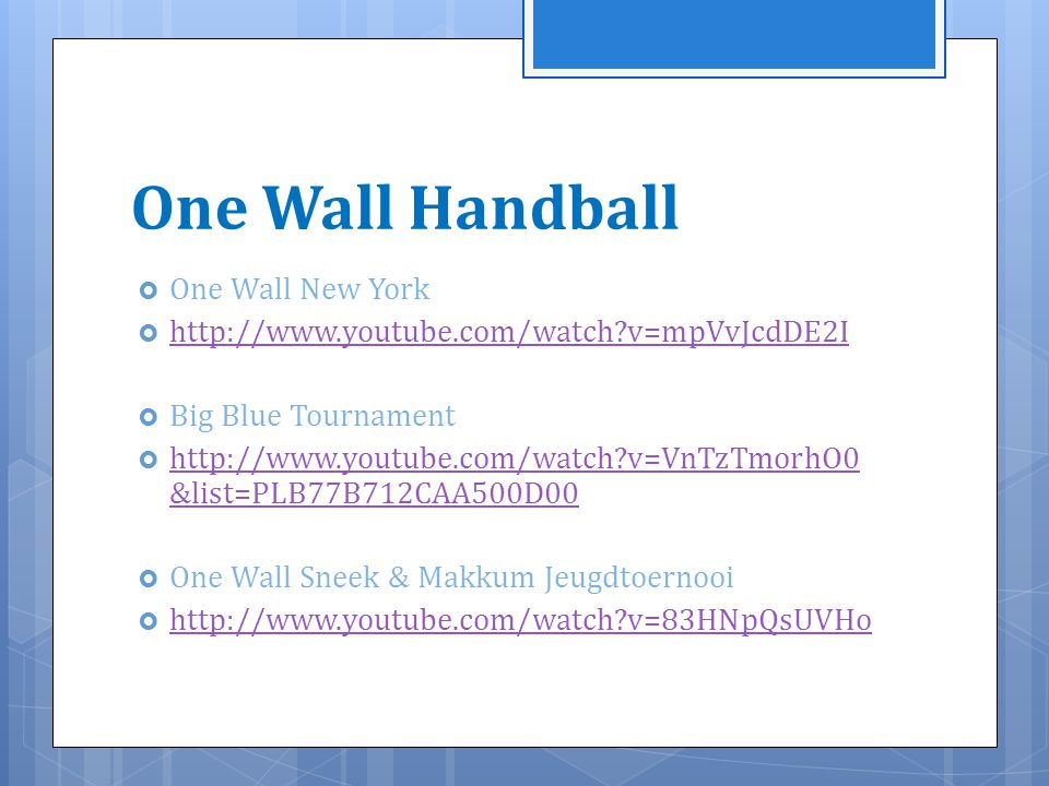 One Wall Handball One Wall New York
