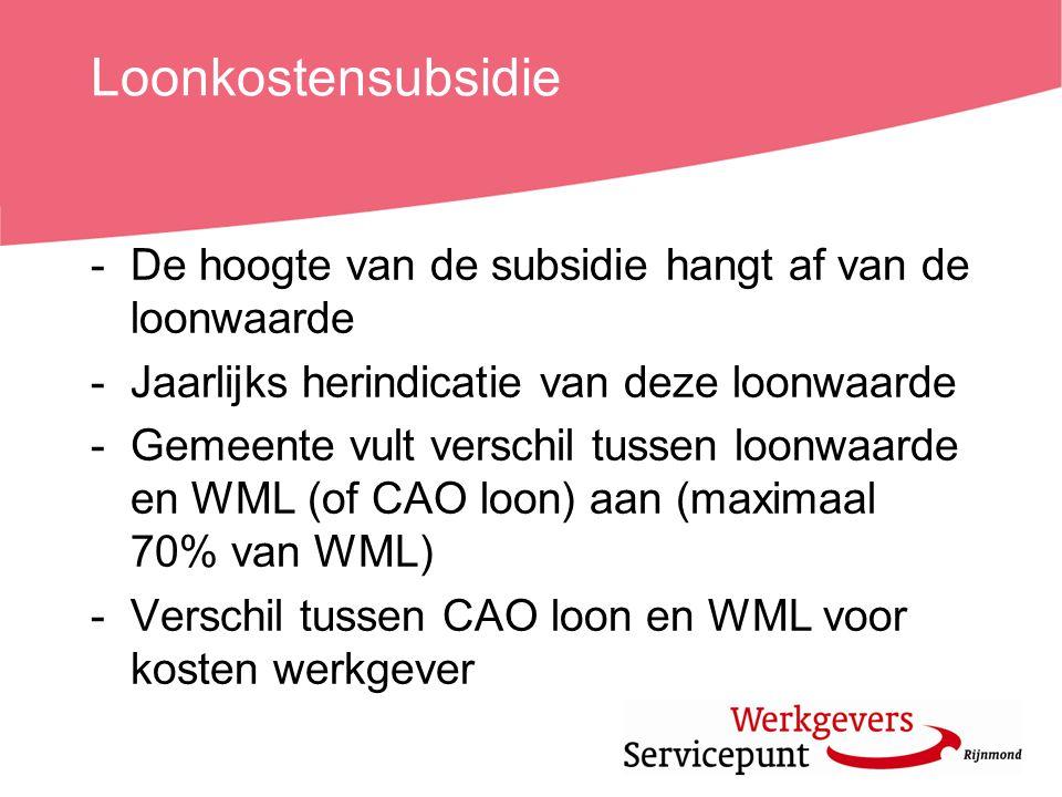 Loonkostensubsidie De hoogte van de subsidie hangt af van de loonwaarde. Jaarlijks herindicatie van deze loonwaarde.
