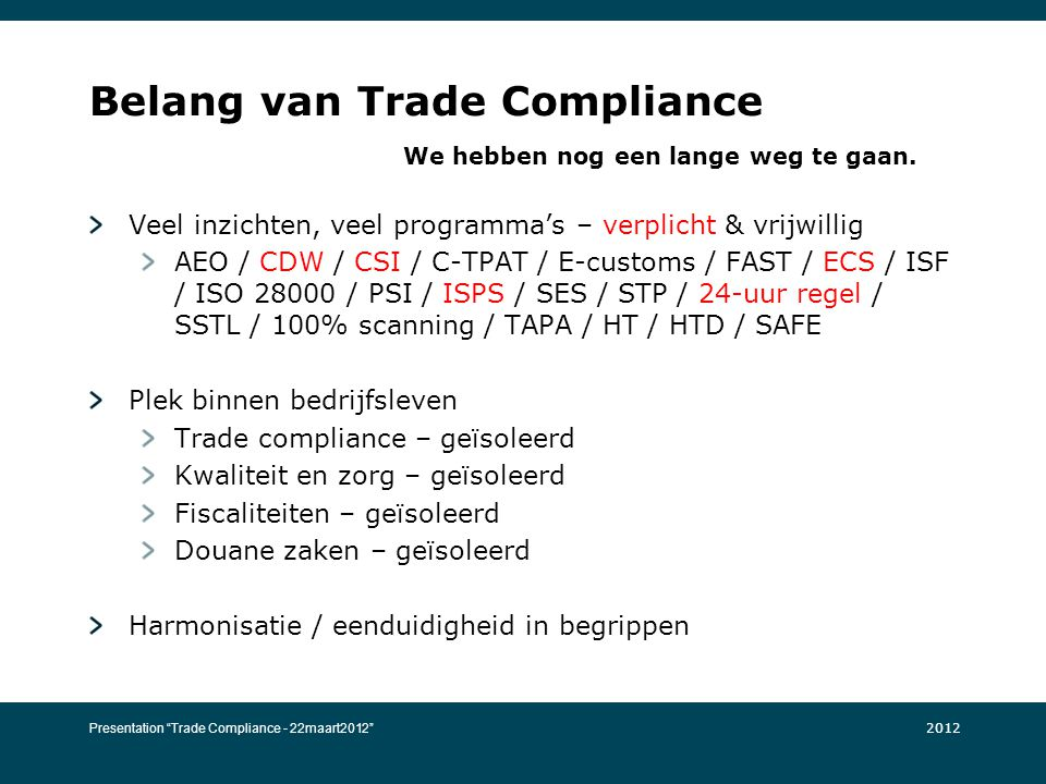 Belang van Trade Compliance We hebben nog een lange weg te gaan.
