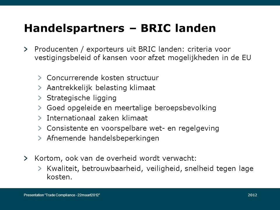 Handelspartners – BRIC landen