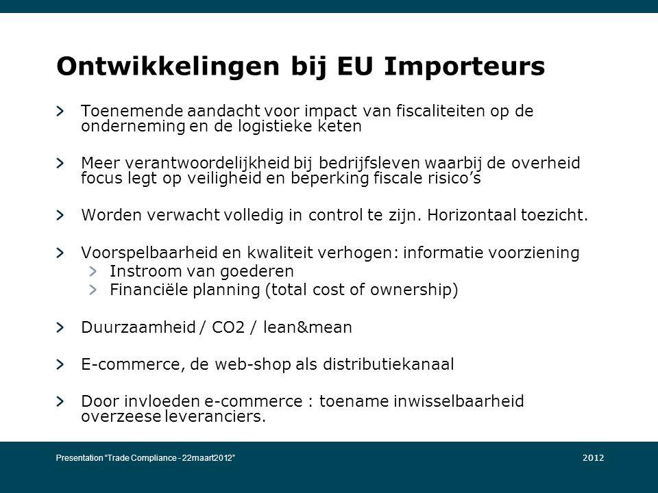 Ontwikkelingen bij EU Importeurs