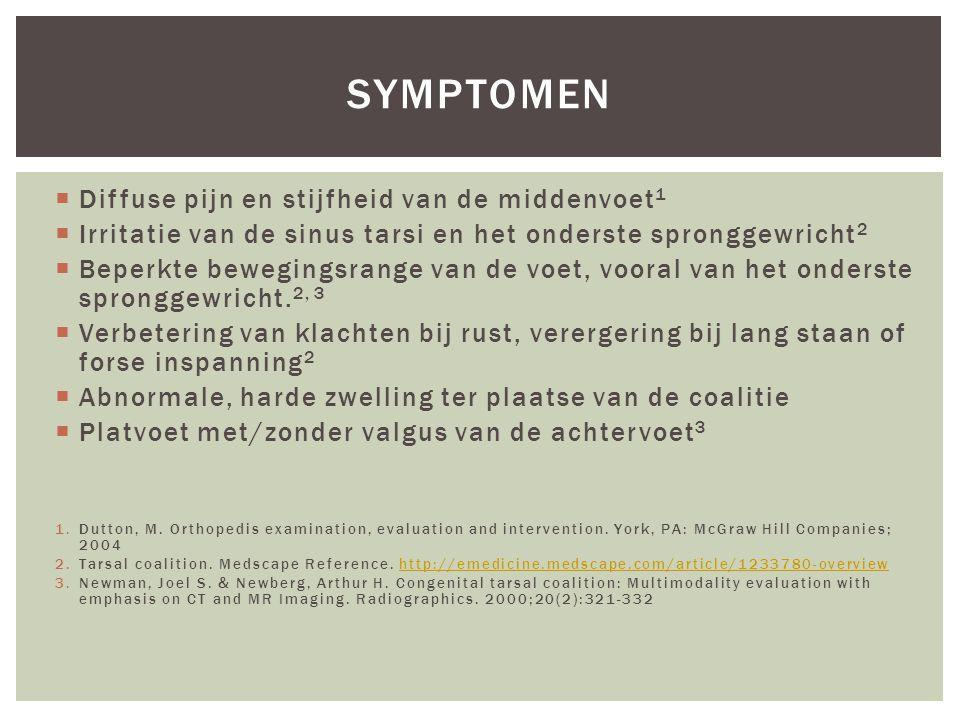 symptomen Diffuse pijn en stijfheid van de middenvoet1