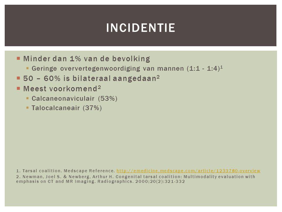 incidentie Minder dan 1% van de bevolking