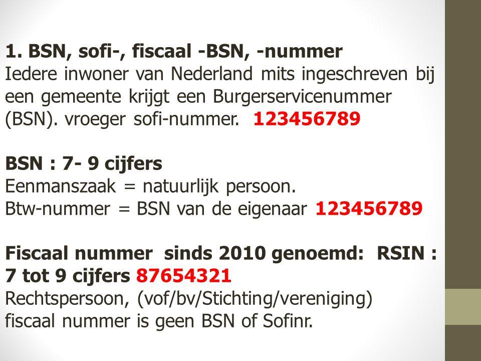1. BSN, sofi-, fiscaal -BSN, -nummer