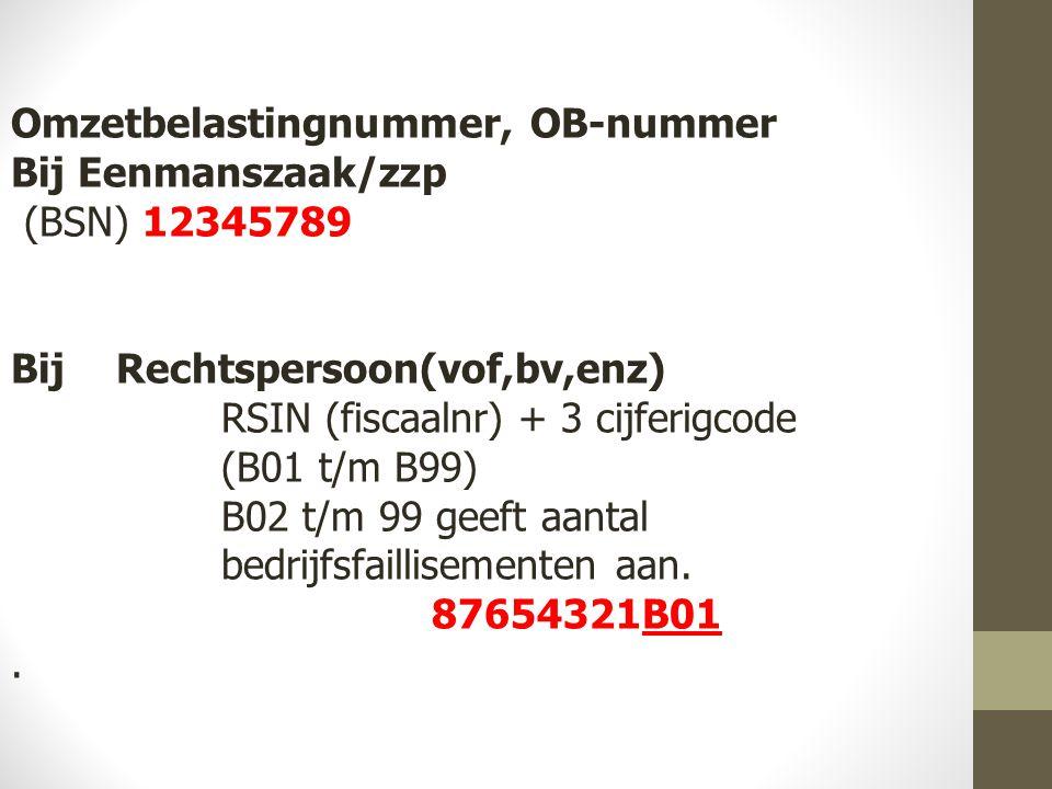Omzetbelastingnummer, OB-nummer