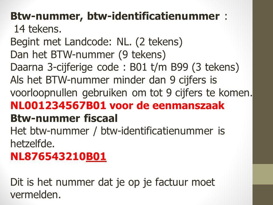 Btw-nummer, btw-identificatienummer :