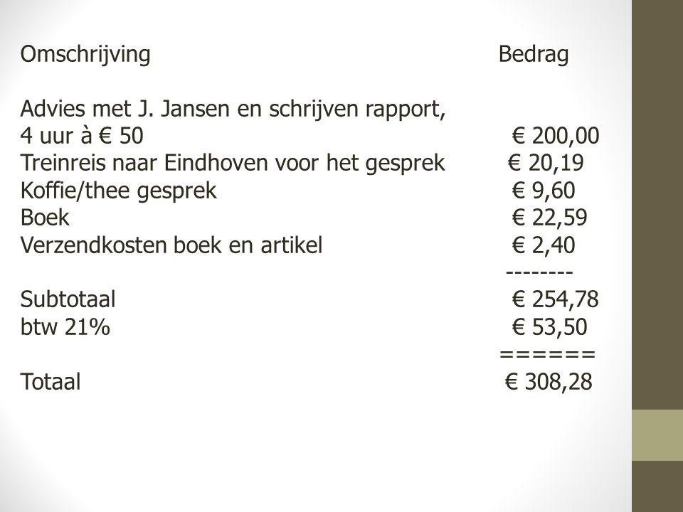 Omschrijving Bedrag Advies met J. Jansen en schrijven rapport, 4 uur à € 50 € 200,00