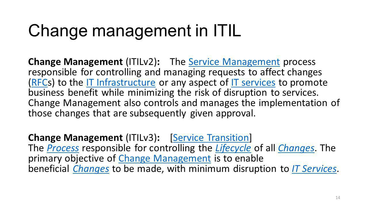 Change management in ITIL
