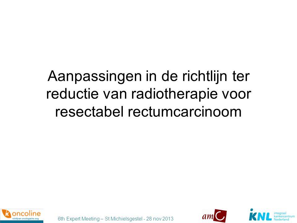 Aanpassingen in de richtlijn ter reductie van radiotherapie voor resectabel rectumcarcinoom